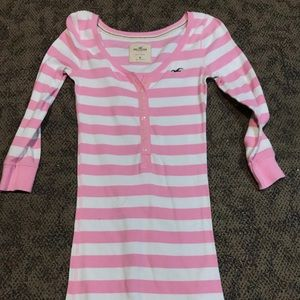 Pink and white striped hollister half sleeve shirt